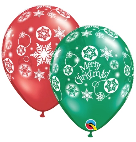 BALLOONS LATEX - CHRISTMAS SNOWFLAKES RED & GREEN PACK OF 25