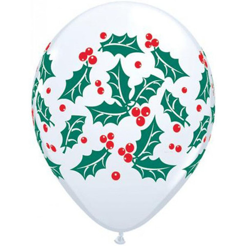 BALLOONS LATEX - HOLLY & BERRIES DESIGN PACK OF 6