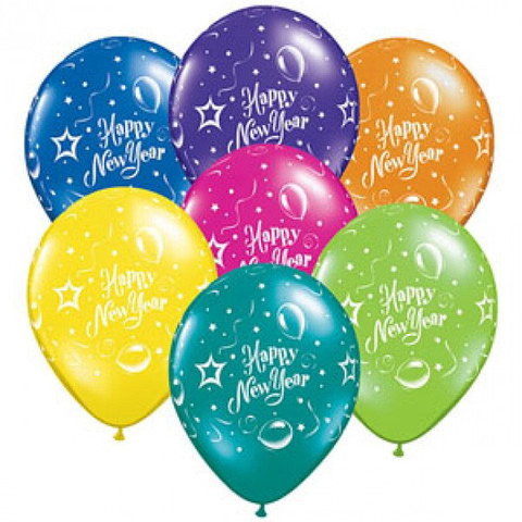 BALLOONS LATEX - NEW YEARS EVE MULTI COLOURED PACK OF 6