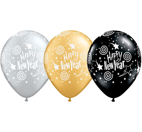 BALLOONS LATEX - NEW YEARS BLACK, GOLD & SILVER SWIRLING STARS P