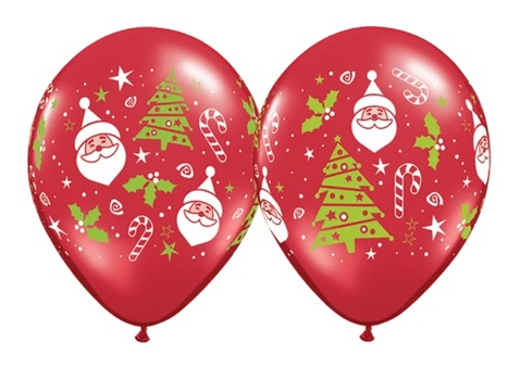 BALLOONS LATEX - SANTA & CHRISTMAS TREE DESIGN PACK OF 25