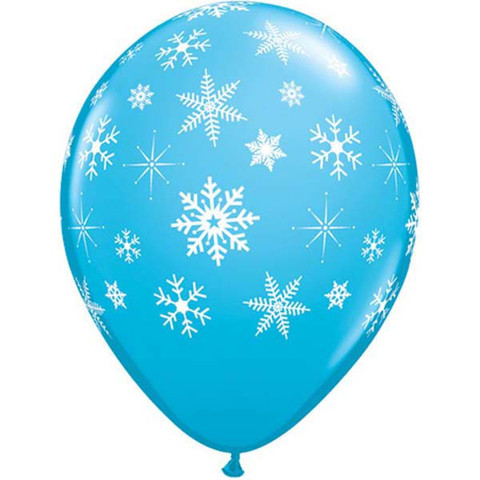 BALLOONS LATEX - SNOWFLAKES & SPARKLES ROBINS EGG BLUE PK OF 6