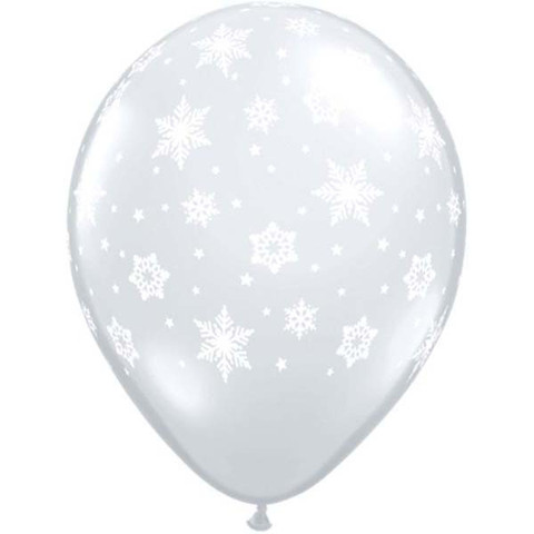 BALLOONS LATEX - SNOWFLAKE DIAMOND CLEAR PACK OF 25