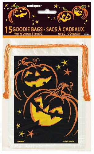 HALLOWEEN PUMPKIN DESIGN DRAWSTRING GOODIE BAGS - PACK OF 15