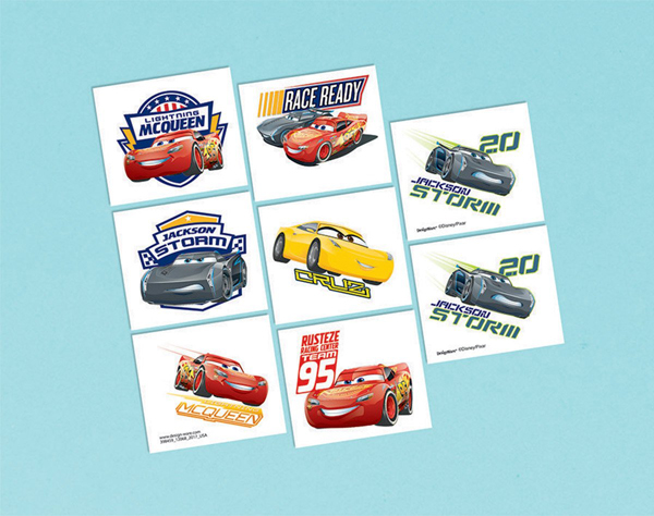 CARS 3 - PARTY FAVOURS - TATTOOS PACK OF 8