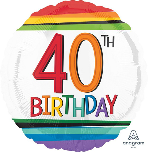 FOIL BALLOON - 40TH BIRTHDAY RAINBOW