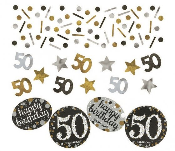 50TH BIRTHDAY SCATTERS SPARKLING - SILVER, GOLD & BLACK