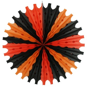 HALLOWEEN HANGING ORANGE & BLACK PAPER FAN DECORATION - 56CM