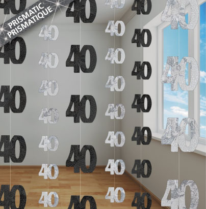 GLITZ SILVER & BLACK 40TH BIRTHDAY STRING DECORATIONS
