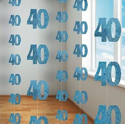 GLITZ BLUE GLITTERED 40TH BIRTHDAY STRING DECORATIONS