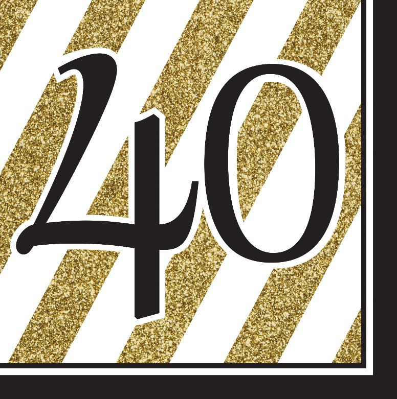 40TH BIRTHDAY GOLD & BLACK NAPKINS - PACK OF 16