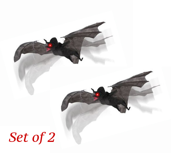 GIANT EVIL BLACK SCREAMING BATS WITH MOVING WINGS - SET OF 2