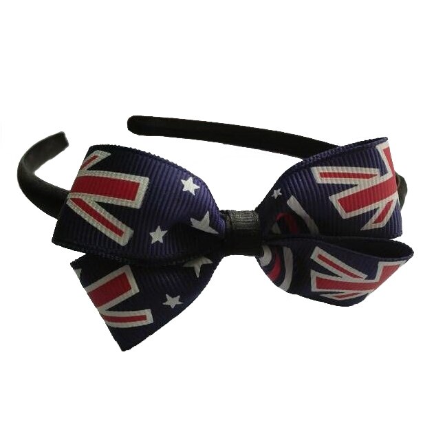 AUSSIE FLAG RIBBON BOW ON A HEADBAND