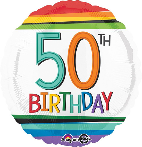 FOIL BALLOON - 50TH BIRTHDAY RAINBOW