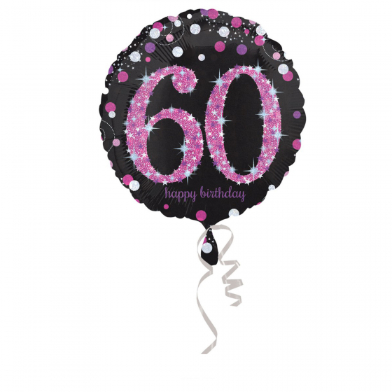 FOIL BALLOON - 60TH BIRTHDAY SPARKLING PINK