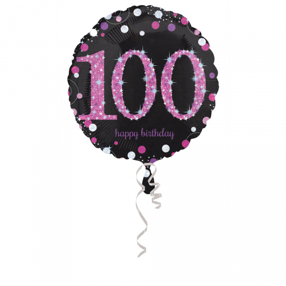 FOIL BALLOON - 100TH BIRTHDAY SPARKLING PINK