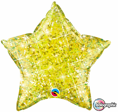 FOIL BALLOON STAR SHAPE - HOLOGRAPHIC JEWEL YELLOW
