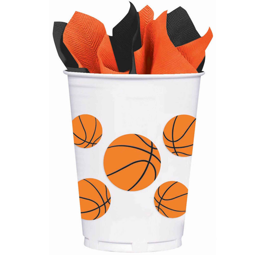 BASKETBALL FAN PLASTIC CUPS - PACK OF 8
