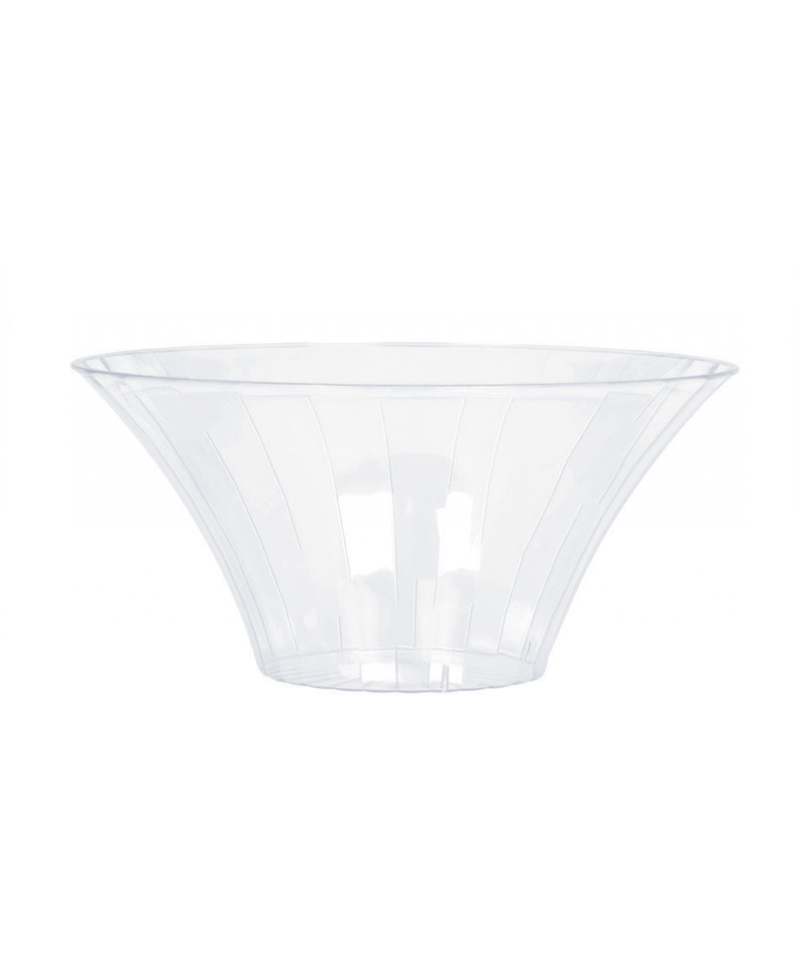 CLEAR PLASTIC FLARED BOWLS SMALL - 18CM