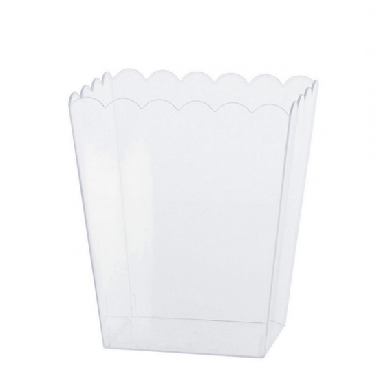 CLEAR PLASTIC SCALLOPED CONTAINER - SMALL
