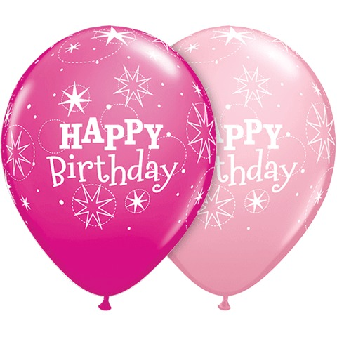 BALLOONS LATEX - HAPPY BIRTHDAY SPARKLE PINKS PACK 6