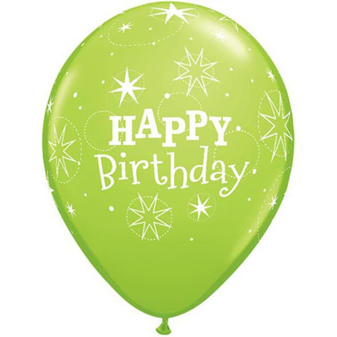 Image of Balloons Latex  Happy Birthday Sparkle Lime Pack 6