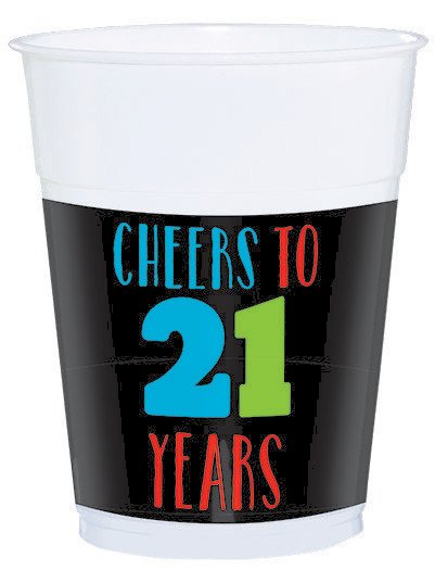 21ST BIRTHDAY CUPS 'CHEERS TO 21 YEARS - PACK OF 25