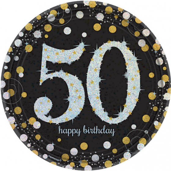 50TH BIRTHDAY DINNER PLATES SPARKLING CELEBRATION - PACK 8