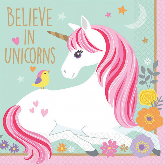 MAGICAL UNICORN COCKTAIL NAPKINS - PACK OF 16