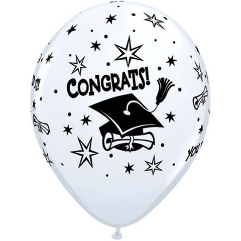 BALLOONS LATEX - CONGRATS! CAP WHITE PACK OF 6
