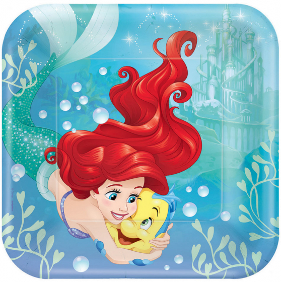 MERMAID ARIEL DREAM DINNER SQUARE PLATES - PACK OF 8