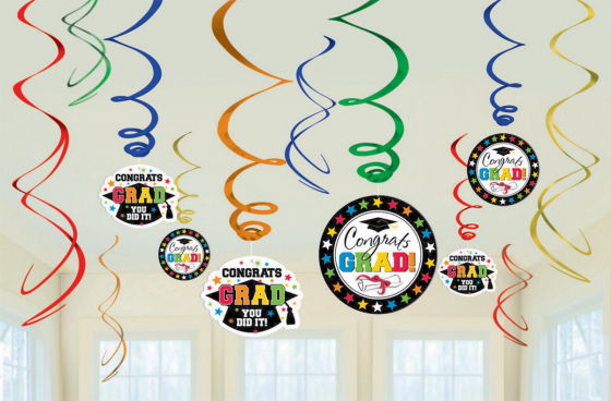 GRADUATION CAP HANGING FOIL WHIRLS - MULTI COLOURED VALUE PK 12