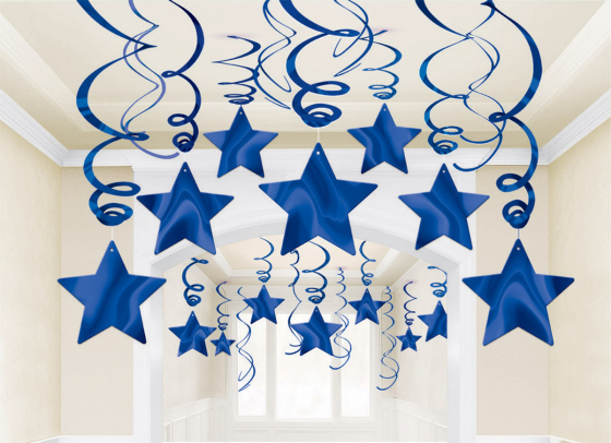 STAR HANGING SWIRL DECORATION ROYAL BLUE PACK OF 30