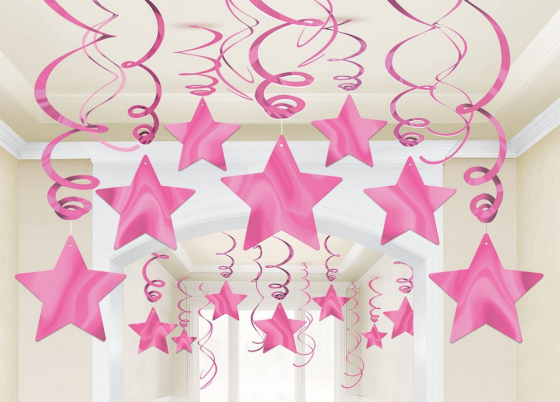 STAR HANGING SWIRL DECORATION BRIGHT PINK PACK OF 30
