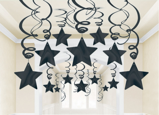 STAR HANGING SWIRL DECORATION JET BLACK PACK OF 30