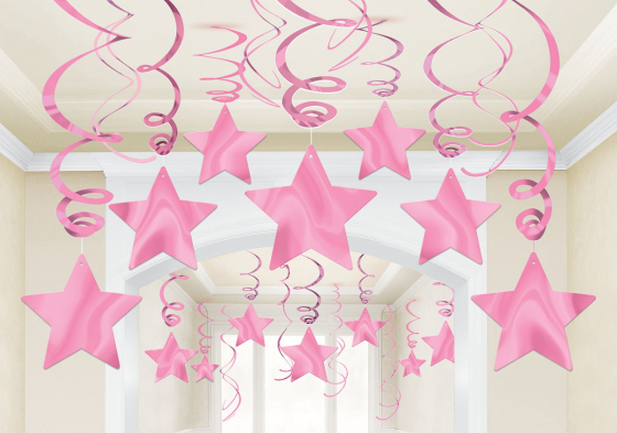 STAR HANGING SWIRL DECORATION NEW PINK PACK OF 30