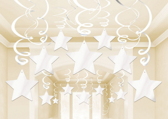 STAR HANGING SWIRL DECORATION FROSTY WHITE PACK OF 30