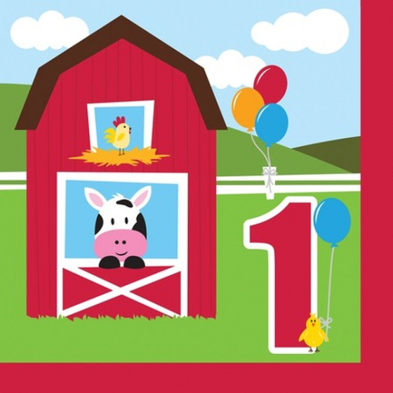 FARMYARD DESIGN 1ST BIRTHDAY NAPKINS - PACK OF 18
