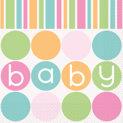 BABY PASTEL SHOWER UNISEX NAPKINS - PACK OF 16