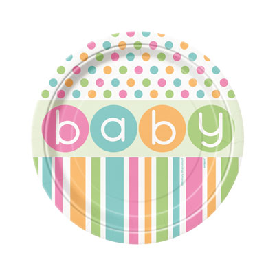 BABY PASTEL SHOWER LUNCH PLATES - PACK OF 8