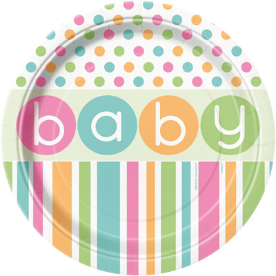 BABY PASTEL SHOWER DINNER PLATES - PACK OF 8