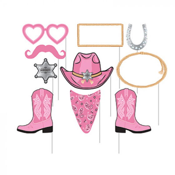 SELFIE PHOTO BOOTH PROPS - WESTERN PINK BANDANA PACK OF 10