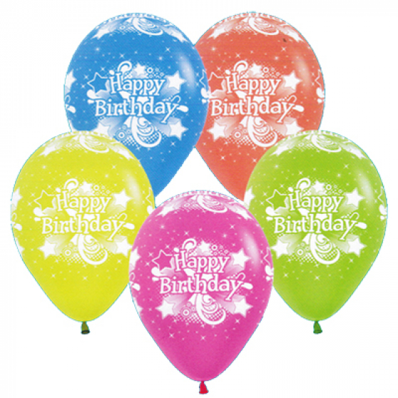 BALLOONS LATEX - HAPPY BIRTHDAY NEON FANTASY PACK 12