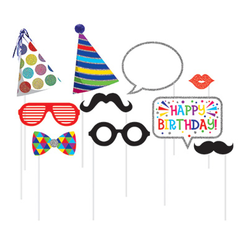 SELFIE PHOTO BOOTH PROPS - ALL OCCASSION BIRTHDAY PACK OF 10