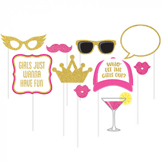 SELFIE PHOTO BOOTH PROPS - HEN'S GLITTER PARTY PACK 10