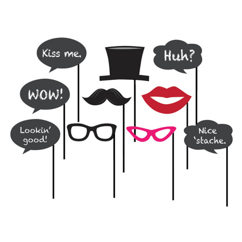 SELFIE PHOTO BOOTH PROPS - SPEECH BUBBLE CHALKBOARD PACK OF 12