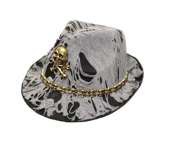 ADULT TATTERED PIRATE FEDORA WITH SILVER SKULL DESIGN