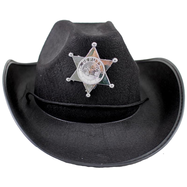 COWBOY HAT FELTEX - BLACK WITH SHERIFF BADGE