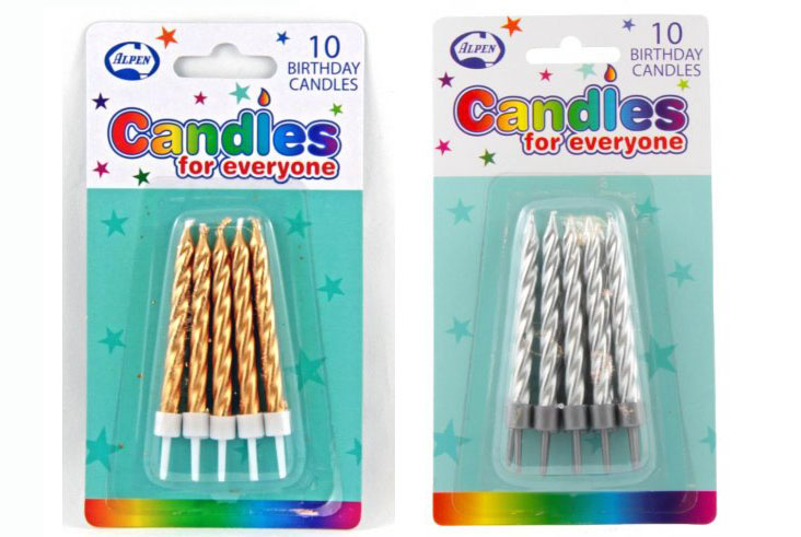 GOLD OR SILVER BIRTHDAY SPIRAL CANDLES - 6CM