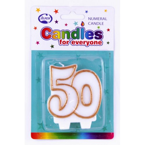 50TH BIRTHDAY/ANNIVERSARY PARTY CANDLE WHITE WITH GOLD PIPING